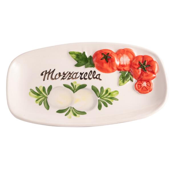 Piatto Ovale Pomodoro e Mozzarella rilievo